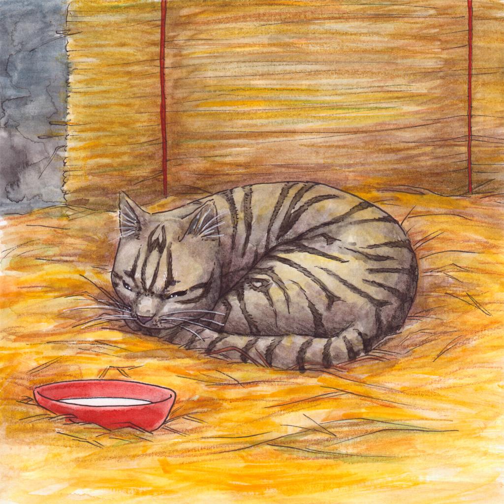 lastenkirjan kuvitus - kuvittaja - kissa - children's book illustration - illustrator - sleeping cat - Hanna-Riikka Art