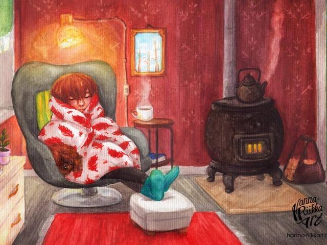 Takkatulen lämmössä, vesivärityö, watercolor painting