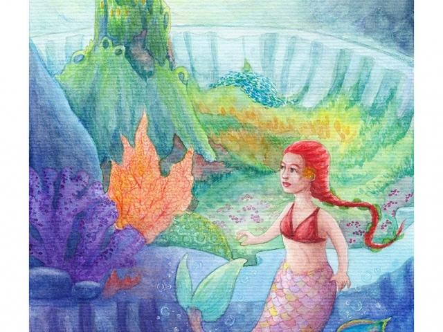 Pieni Merenneito, Little Mermaid, verivärityö, watercolorwork