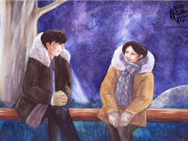 Under the starry sky, vesivärityö, watercolor painting