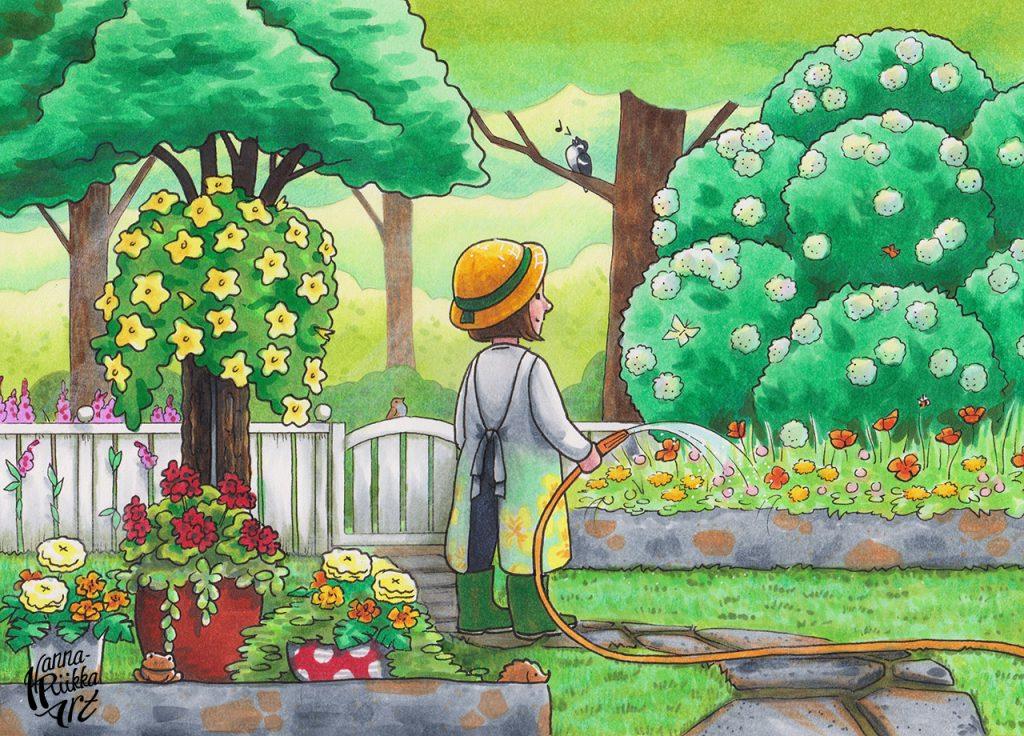 Venlan puutarhassa + värityskuva
